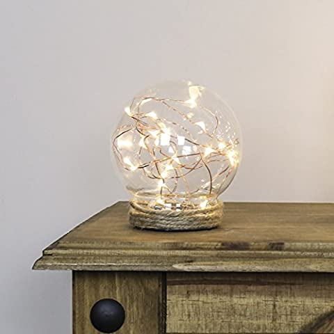 Glass Dome Sphere Lamp - Copper Wire Lights - 12cm - Battery Operated by Festive Lights