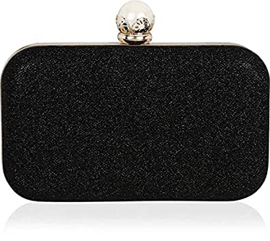 Tooba Handicraft Party Wear Beautiful Bling Pearl Box Clutch Bag Purse For Bridal, Casual, Party, Wedding (Black)