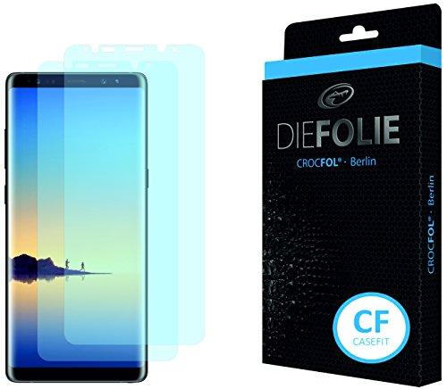Crocfol Bildschirmschutz für Samsung Galaxy Note 8: 2x DIEFOLIE Schutzfolie, 1x DASFLÜSSIGGLAS flüssiges Glas - Casefit Folie, Nutzung mit Schutzhülle
