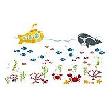 Pingxia Leben im Meer Wandtattoo Niedlich Fisch Krabben Wandaufkleber Abnehmbare Wandsticker für Kinderzimmer Schlafzimmer Wohnzimmer