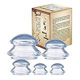 Massage Schröpfen Silikon Schröpfen Cups Vacuum Schröpfgläser Massage Cups Set,Anti Cellulite Cups,Transparent,5 Stück,L