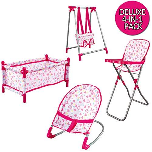 deAO Baby Set 4in1 Include Culla, Seggiolone, Altalena e Sedia a Dondolo Giocattolo d'Imitazione per Bambole Bebe Gioca a Essere Mamma e papà (Bambola Non Inclusa)