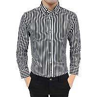 Yvelands Camisa de Manga Larga Rayada de los Hombres, Juego Juego de la Manera de los Hombres Ajuste Las Camisas de Vestido rayadas Tops Blusa ¡Liquidación
