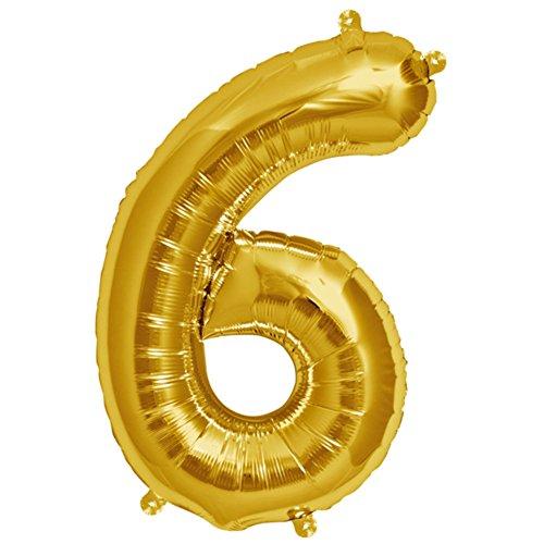 ballonfritz® Ballon Zahl 6 in Gold - XXL 40
