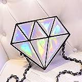 Lookout Hologramm Diamant Form Frauen Messenger Holografische Crossbody Kette Tasche, silber