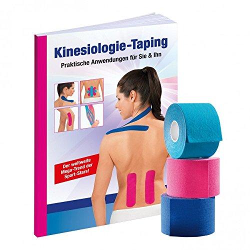 VITALmaxx Physio Tape für Kinesiologie, Kinesiotaping (3er Set + Buch)