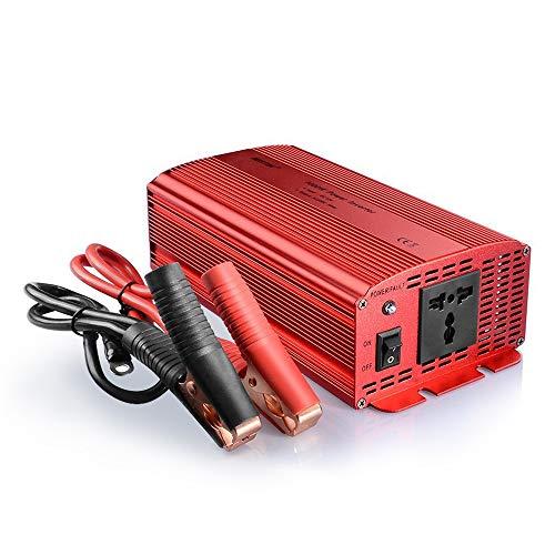 BESTEK 1000W KFZ Spannungswandler 12v auf 230v Universal EU Steckdosen Wechselrichter Stromwandler 12 230 mit Zigarettenanzünder Adapter und Krokodil Clip für Auto Batterie