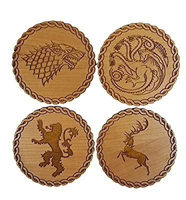 Game of Thrones Inspired Wooden Coasters - Set of 4 Main House Sigils - Choice of Wood Type
