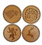 Holz-Untersetzer, Game of Thrones inspiriert –4er-Set mit den Siegeln der wichtigsten Adelshäuser–Holzart wählbar