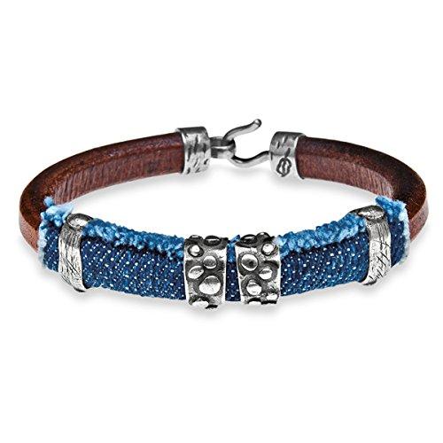 Denim-armband (platadepalo Outlet Armband Silber, Leder und Denim)