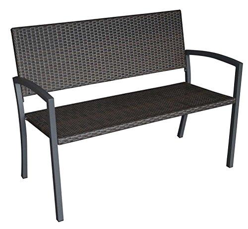 Gartenbank, 2-sitzer mit einem Stahlgestell in grau und Polyrattan-Bespannung in mokkafarben, Maße: B/H/T ca. 118/87/59 cm