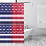 COOSUN Patriot Red White Print Duschvorhang, Polyester-Gewebe Duschvorhang, 66 x 72-inch 66x72 Mehrfarbig