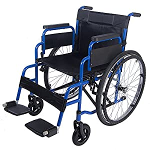 All AID Self Propelled Wheelchair Folding Lightweight Transit Travel Comfort Wheel Chair Portable with Brake, Footrest, Armrest