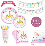 Sunshine smile Licorne Vaisselle Assiettes,Licorne Party Vaisselle,Licorne Birthday Decoration,Licorne Fête Articles,Ensemble de fête de Licorne