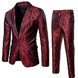 Zolimx Abito Uomo 2 Pezzi, Blazer Uomo Abito Uomo Completo Blazer+Pantaloni Slim Fit Elegante