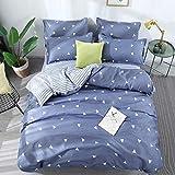 BFMBCH Explosive Bettwäsche Bettbezug Kissenbezug blaues Dreieck Nachahmung Baumwolle dreiteilig A 173cm * 230cm