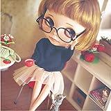 Blythe muneca y 1/3 de la muneca de los vidrios retro redondas elegir color (negro)