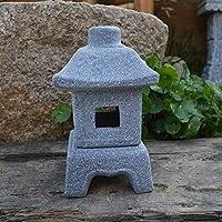 VAWAA Japanese Style Lamp Imitation Stone Small Wind Lamp Garden Ornaments Candle Lights Gardening Decoration
