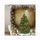 Knbob Gardinen Duschvorhang Weihnachtsbaum Weihnachtsbaum Shower Curtain 180X200CM mit Duschvorhangringen Wohnaccessoires