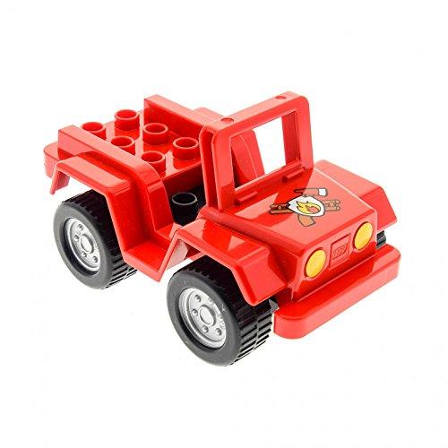 Bausteine gebraucht 1 x Lego Duplo Fahrzeug Auto Quad Rot Schwarz mit Fire Logo Typ II Feuerwehr PKW für Set 6169 54007c03 98189pb02