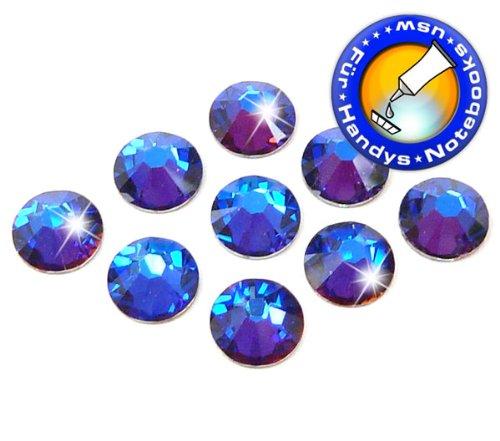 Swarovski 100 Stück Elements 2058 XILION - Kein Hotfix, Farbe Crystal Meridian Blue, SS5 (Ø ca. 1,8 mm), Strass-Steine Zum Aufkleben -