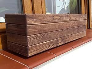 Nouveau bac à fleurs en bois tOP pot de fleurs pour jardin et terrasse montée d1 marron foncé 50 cm