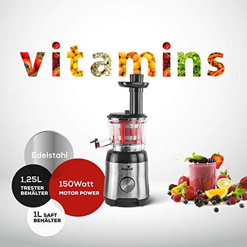 Slow Juicer Entsafter Zentrifugal-Entsafter für Obst und Gemüse Happycook Ruhiger Motor und Umkehrfunktion Kältepresse Leicht mit Pinsel zu reinigen