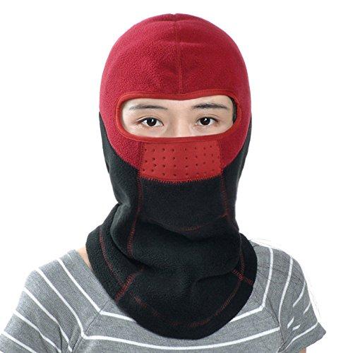 FQG*L'automne hiver appeler lint-free ride masque tête tête kit hat face au vent d'hiver chaud pour l'hiver les bouchons , les hommes et femmes Kaki Baotou Vin rouge - d'épaisseur
