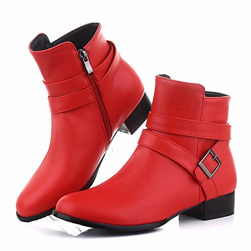 Mee Shoes Damen Niedrig Reißverschluss runde Ankle Boots Rot
