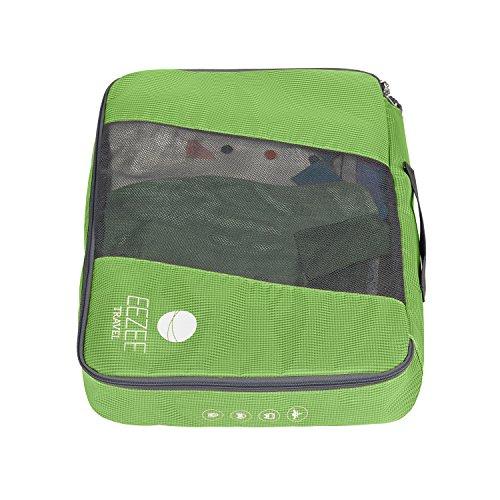 EEZEE 100% Polyester Leichtgewicht Pack- und Aufbewahrungstaschen Mit Wäschebeutel 4er Set (2x groß, 2x mittel groß) zum Reisen, Camping, Urlaub (Grun)