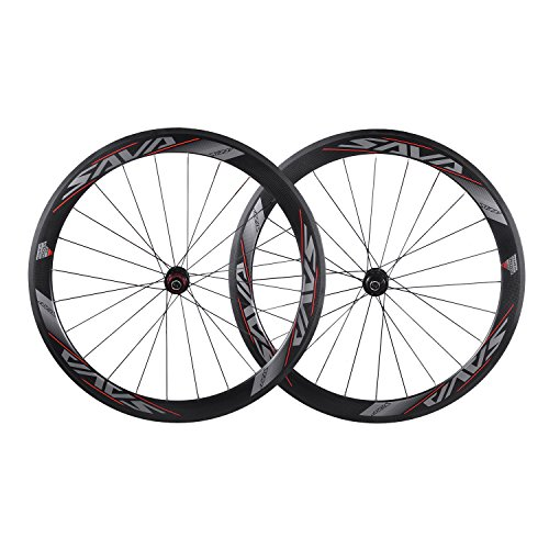 SAVA 700C Road Bike Wheel Set Wheels / Wheels by T700 Full Carbon Fiber Wheel Set of 3K Riveter Compatible with Shimano and Sram