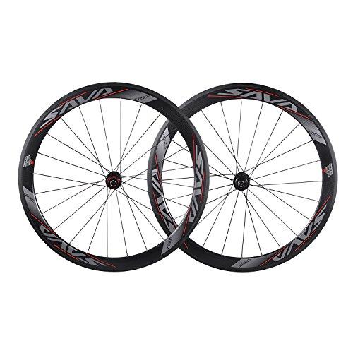 SAVA 700C Juego de Ruedas de Bicicleta de Carretera Ruedas/Llantas de T700 Fibra de Carbono Comnpleto Juego de Ruedas del Remachador 3K Compatible con Shimano y Sram