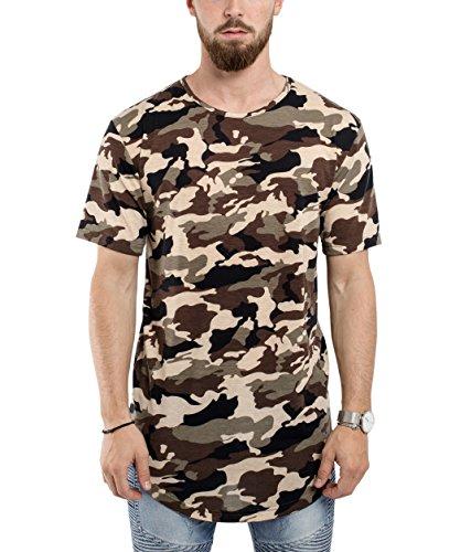 Herren Woodland Camouflage Camo (Blackskies Round Basic Longshirt | Langes Oversize Fashion Langarm Herren T-Shirt Long Tee - Camo Woodland Camouflage Large L)