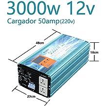 Inversor Onda Pura 3000W 12V to AC 230V Cargador 50Amp 220v-240v