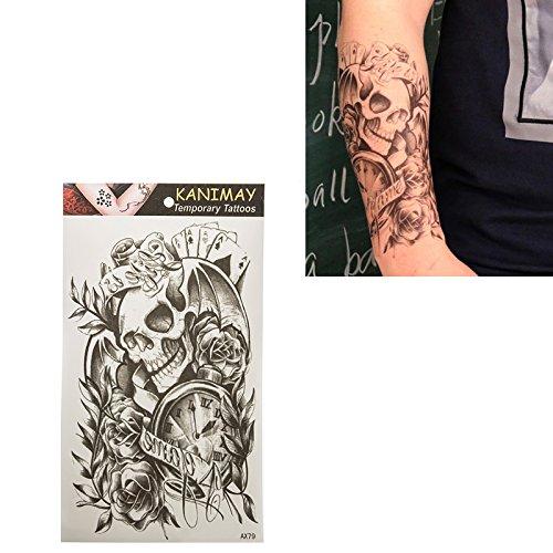 coulorbuttons 1Bogen Eule groß wasserdicht temporäre Tattoos Aufkleber Tattoo Body Art Aufkleber, (Ideen Piercing Female)