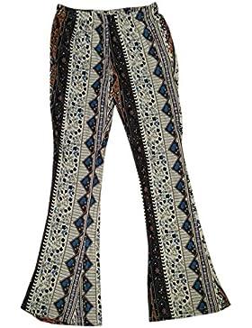KINDOYO Pantalones de Campana Apretados Impresos Vintage de la Cintura Media de Las Mujeres