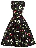 Fairy Couple 50er Coctailkleid im Vintage-/Retro-Stil mit Blumenprint und einer Schleife Gr. XXL, cherry