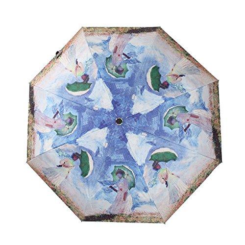 royllent Cute tre pieghevole ombrello personalizzato e unico ombrello da pioggia/sole Ombrellone UV UPF 40+, antipioggia e antivento ombrello per bambini da donna e blu beauty with umbrella