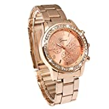 Geneva Bling Crystal Women Girl Unisex Stainless Steel Quartz Wrist Watch rose gold