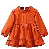 Logobeing Niños Pequeños Bebé Niñas Ropa de Manga Larga Tops Fruncidos Fiesta Vestidos de Princesa (4Años, Naranja)