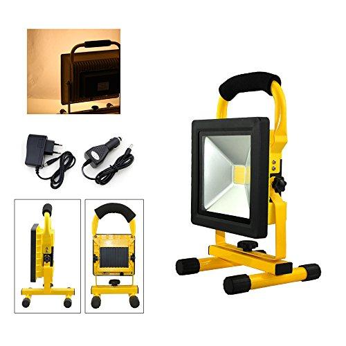 VINGO® 20W Blanc Chaud Projecteur LED Portable Rechargeable Pour Camping, Garage, Terrasse, Jardin, Abri etc