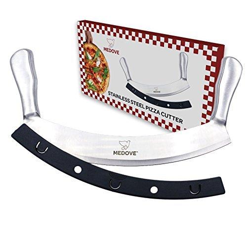 Mezzaluna Hacker, Pizza-Schaukelschneider - Super scharfe Klinge mit doppeltem Griff, Edelstahl, 30,5 cm Messer, Obst, Gemüse, Hacker, sicherer Griff, einfacher Schnitt perfekte Scheiben von Medove (Pizza Cortador)