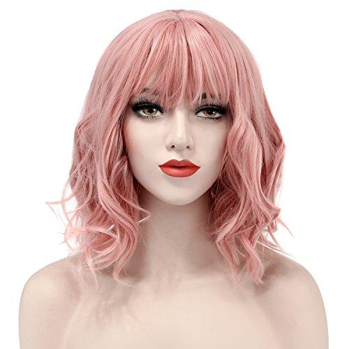 kige Gelockt Gewellt Perücke Wig Sexy Damen Short Bob mit Fransen Wave Full Lace mit Perücke Cap für Kostüm Cosplay Party (Rosa) (Rosa Kostüm Perücke)