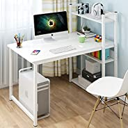 JOYSEUS Home Office Computer Desk Study Writing Desk with Wooden Storage Shelf, Laptop Table with Computer Hos
