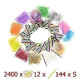 Lot de 2400 élastiques + 12 crochets + 144 Clips S - Pour métier à tisser (Loom) Bracelet - 12 sachets de 12 couleurs - 100% compatible Rainbow Loom, Cra-Z-Loom et autres kits Loom - 2400 bands
