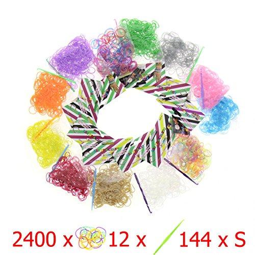 Lote de 2400 pulseras elásticas + 12 ganchos + 144 Clips S – para la pulsera Loom - 12 sobres de 12 colores - 100% compatible con Rainbow Loom, Cra-Z-Loom y otros kits Loom - 2400 gomas elásticas