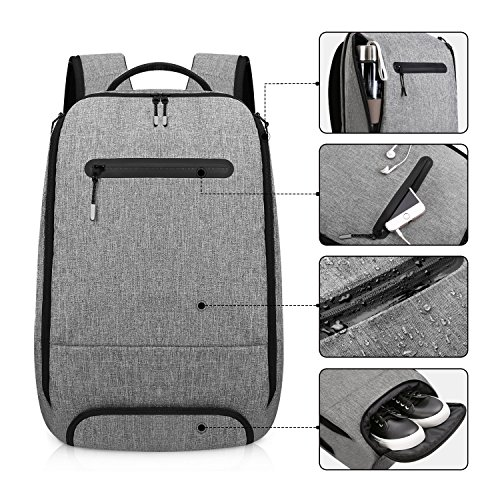 Imagen de reyleo  portátil impermeable backpack para ordenador hasta 15,6 pulgadas con varios compartimentos del casual deporte viaje trabajo  20l gris alternativa