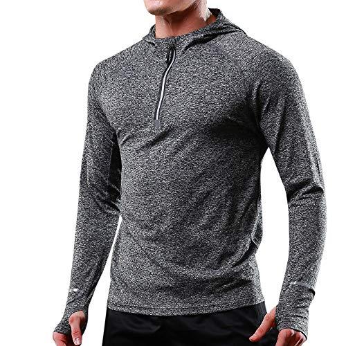 TIFIY Männer sportlich elastisch langärmeligen Reißverschluss schnell trocken Hoodie reflektierende T-Shirt Tops(Dunkelgrau,EU 38/CN S)