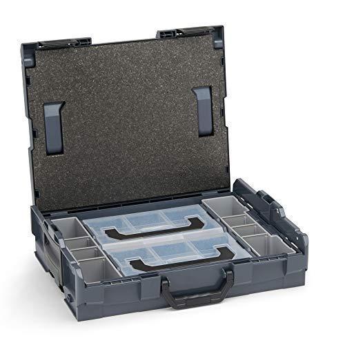 Bosch Sortimo Werkzeugkoffer-Set • L-Boxx 102 anthrazit • bestückt mit Ordnungssystem Insetboxen-Set Mini