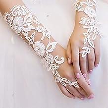 1 paire Blanc en dentelle florale mariée fête de mariage Robe de soirée  Mitaines Kangql 965e17862c42
